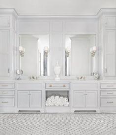 Luxury White Marble Bathroom Interior Design And Ideas Grey Bathroom Cabinets, Light Gray Cabinets, Linen Cabinet In Bathroom, Marbel Bathroom, Marble Bathroom Floor, Restroom Cabinets, Bathroom Countertops, Dark Cabinets, Dream Bathrooms