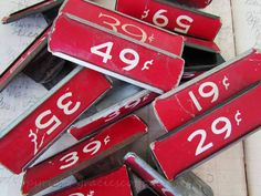 Dime Store Price Tag  RED  Vintage  Numbers  by GraciesCottage, $6.99