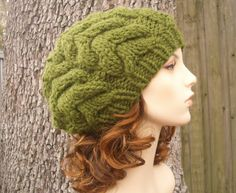 Knitting Pattern - Knit Hat Knitting Pattern PDF for The Horseshoe Cable Beret Hat - Autumn Fashion Autumn Accessories. via Etsy.