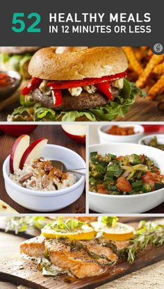 52 Healthy Meals You Can Make in 12 Minutes or Less (has suggestions for breakfast, lunch, and dinner! Healthy Cooking, Healthy Snacks, Healthy Eating, Cooking Recipes, Healthy Recipes, Advocare Recipes, Dinner Healthy, Healthy Tips, Diet Recipes