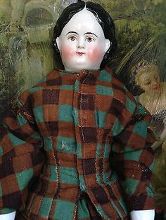 Antique German China Girl Pink Tint Rare Brown Eyes W/ A Hint of a Smile