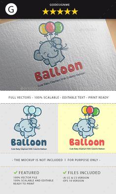 Balloon Elephant Logo Template Vector EPS, AI Illustrator