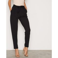 Nly Trend Dressed Tie Pants (€33) via Polyvore featuring pants, black, pants & shorts, womens-fashion, pleated trousers, tapered trousers, tapered pants, tie pants and draw string pants