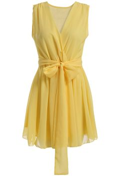 Yellow V Neck Sleeveless Tie-waist Chiffon Dress