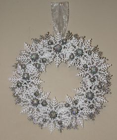 Hey, I found this really awesome Etsy listing at https://www.etsy.com/listing/214199200/christmas-snowflake-wreath-silver-and