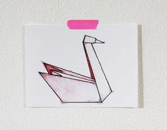 Swan Origami 5x7 Print van fritzifranzen op Etsy, €7.00