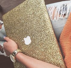 All gold everything! Obsessed with this gold glittery mac laptop cover!