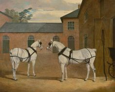 Grey Carriage Horses in the Coachyard at Putteridge Bury, Hertfordshire by John Frederick Herring
