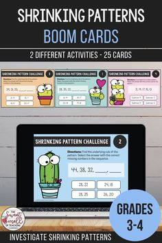 Develop your students' abilities to recognize rules and extend number patterns with these digital Boom Cards. Students use their problem-solving skills to answer multiple choice questions involving shrinking/decreasing number patterns. Learning Resources, Teacher Resources, Learning Cards, Classroom Resources, Third Grade Math, Fourth Grade, Number Patterns, Math Centers, Math Rotations