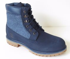 74ee3818829 Timberland Men s 6 Inch Premium Leather Panel Work Boots A159X Navy Blue  Size 10