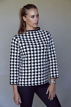 High Boat Neck Sweater in Black & White Houndstooth