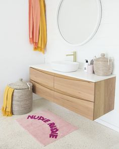 Use simple accents to add color to the neutral bathroom Timber Bathroom Vanities, Timber Vanity, Modern Bathroom, Small Bathroom, Bathroom Ideas, Bathroom Canvas, Beautiful Bathrooms, Bathroom Inspiration, Design Inspiration