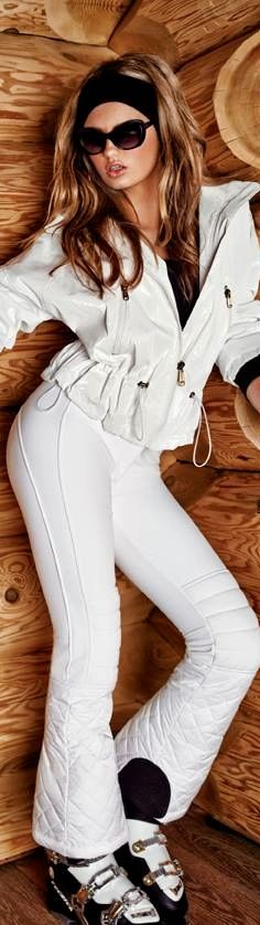 Ski and apres ski / karen cox.  Women's ski wear | Winter Fashion | White ski outfit