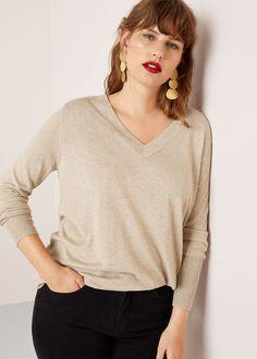 Boucles d'oreilles pendentifs métalliques Mango, V Neck, Beige, Pullover, Sweaters, Women, Fashion, Plus Size, Boucle D'oreille