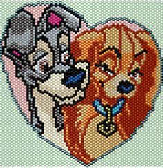 Lady and the Tramp Brick/Peyote Pattern 74 Columns X 59 Rows (Pattern by me, Man in the Book) Pony Bead Patterns, Peyote Patterns, Beading Patterns, Cross Stitch Patterns, Beaded Banners, Beaded Crafts, Beaded Animals, Pony Beads, Plastic Canvas Patterns