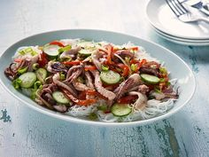 Get Calamari Stir Fry with Peppers and Cukes Recipe from Food Network
