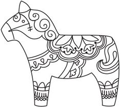 Dala Horse design (UTZH1428) from UrbanThreads.com Paper Embroidery, Embroidery Designs, Mexican Embroidery, Folk Embroidery, Machine Embroidery, Horse Coloring Pages, Coloring Books, Scandinavian Embroidery, Scandinavian Folk Art