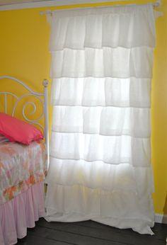 White Ruffled Linen Curtains