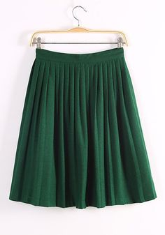 Dark Green Plain Mid Waist Straight Wool Skirt Pleated Accordion  Skirt
