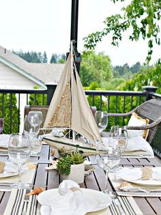 Nautical Outdoor Table Setting - At The Picket Fence