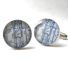 Central Park NYC Vintage Map Cufflinks by dlkdesigns on Etsy, $50.00