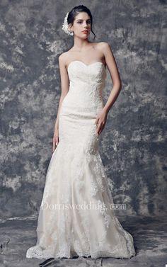 Glittering Strapless Backless Mermaid Lace Wedding Dress #weddingdress #weddinggown #bridaldress #bridalgown #weddingdresses