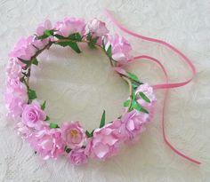 Flower crown Rose headpiece Pink tones mixed size flower head