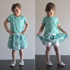 Learn how to sew a girl& skirt with attached shorts in this easy, step by step sewing tutorial. Start with purchased knit shorts and add a skirt. Sewing Kids Clothes, Sewing For Kids, Baby Sewing, Skirt Pattern Free, Skirt Patterns Sewing, Skirt Sewing, Fun Patterns, Little Girl Skirts, Skirts For Kids
