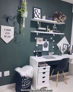 Beautiful Home Office Space! – Megan Roseanne Beautiful Home Office Space! Beautiful Home Office Space! Study Room Decor, Room Decor Bedroom, Bedroom Green, Modern Bedroom, Bedroom Office, Cozy Bedroom, Minimalist Bedroom, Bedroom Ideas, Cool Room Decor