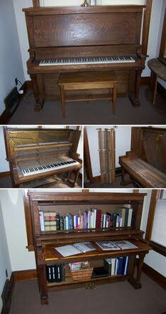 Piano upcycle to bookcase!  What a great idea for the paino currently in need of a good home at the ReStore!
