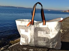 Sail bag made of reclaimed sailcloth by Rough Element