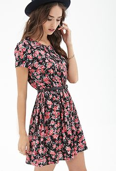 Belted Rose Print Dress | Forever 21 - 2000066694