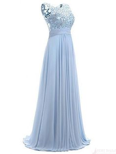 Sky Blue Long Chiffon Prom Dresses with Lace(ED2382)