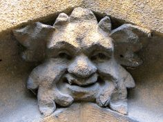 A tiny Green Man on a church in Stock, Essex, England (photo Chris Metcalfe)