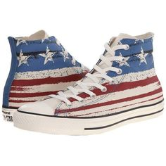 Converse Chuck Taylor All Star Flag Print Hi Lace up casual Shoes ($60) ❤ liked on Polyvore featuring shoes, sneakers, converse, converse sneakers, lace up shoes, lace up high top sneakers, high top trainers and striped shoes