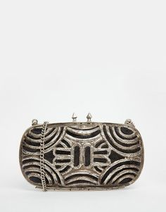 Image 1 ofFrom St Xavier Clutch Bag with Silver Cutwork Detail