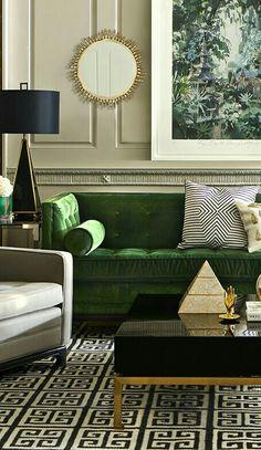 Elegant neutral interior, black, gold and emerald green, Jonathan Adler furniture
