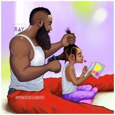 Dad combing hair