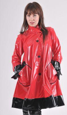 Shiny red Plastic Rainjacket