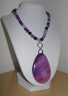 Dragon Vein Agate Pendant with infinity by CreationsbyMaryEllen