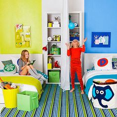Do your kids share a room? Create a shared space that fosters fun ... and minimizes turf warfare. All it takes is a smart use of color, a curtain, and some cute customized touches. Shared Bedrooms, Kid Bedrooms, Girls Bedroom, Boy Girl Room, Boy And Girl Shared Room, Colourful Bedroom, Bedroom Colours, Room Colors, Storage Bins