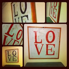 24x24 square love wood sign red and black rustic urban DIY sign