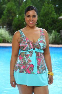 Plus Size tankini with skirt Trinidad 2 Pc Skirtini  Always 4 Me