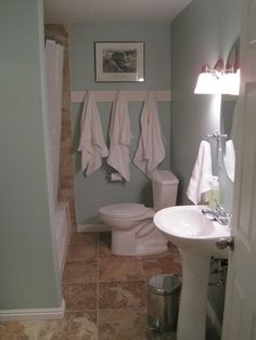 Love the towel hooks for the girls bathroom...not a fan of the brown tile, like the blue paint color