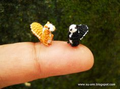 Teeny Tiny Crochet Squirrels.  VERY cute but just IMAGINING trying to crochet these makes me want to keel over and die!!! lol