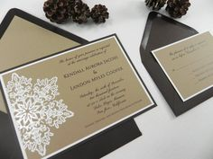 Rustic Snowflake 4 Piece Wedding by WhiteGownInvitations on Etsy, $4.00