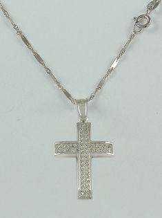 Σταυρός βάπτισης λευκόχρυσος με αλυσίδα, 14 καράτια, κορίτσι, Κωδικός WS211