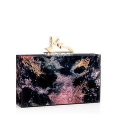 Charlotte Olympia | PLANETARIUM  PANDORA CLUTCH BOX in the season's 'Kaleidoscope Galaxy' print and finished with a metallic gold shooting star clasp - Fall 16