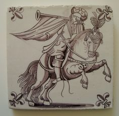 Delft tile with manganese decoration of a mounted trumpeter - Dutch c1750