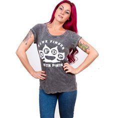 Five Finger Death Punch Women's Tee: Knuckleduster Wholesale Ref:FFDPTS16LAW